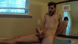 Hot Slim Bearded Boy Stroking and Cumming Hard