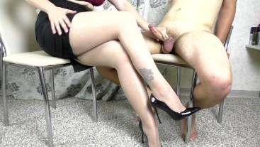 Femdom secretary handjob - cum on legs