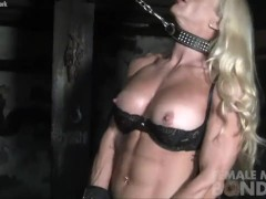 Blonde Female Muscle Goddess in Restrained
