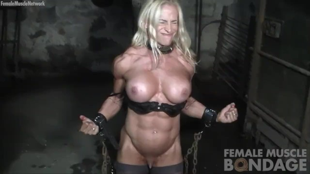 Erotic female bodybuilders clip - Big tit muscled blonde bodybuilder in chains in the gym
