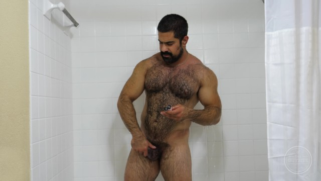 Free gay im site Hairy muscle daddy hugo is an exhibitionist with a big hard dick cumshot