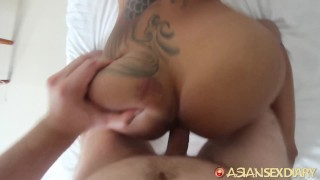 Asian Sex Diary - Sexy Asian babe with fake tits gets white dick