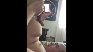 Chubby Guy Cums All Over His Face to Test a New Phones Camera