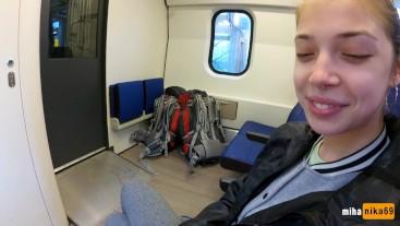 Real Public Blowjob in the Train | POV Oral Creampie by MihaNika69