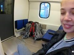 Real Public Blowjob in the Train   POV Oral Creampie by MihaNika69