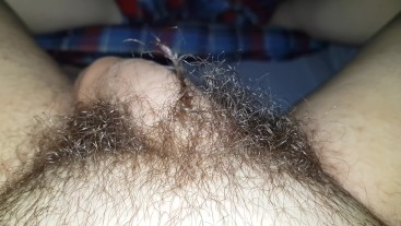 Hairy Teen Plays With Pubes