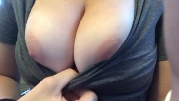 Playing with my Pale nipples and big tits