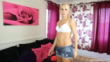 YOUNG MUM IN DENIM SHORTS AND T-SHIRT DANCES NAKED