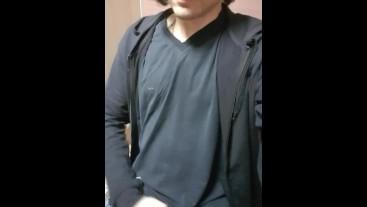 Long haired boy wank in public toilet