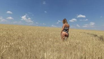 Try to catch my cum. POV outdoor. Nasty teen sucks and fucks in field