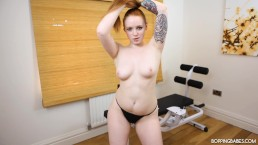 SEXY YOUNG REDHEAD STRIPTEASE AFTER GYM SESSION