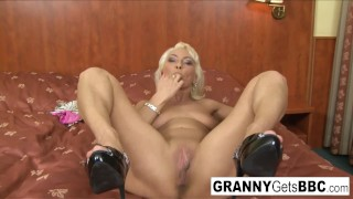 Black cock makes granny's asshole gape open
