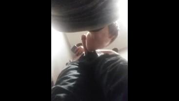 Sub Boy Sucking Curious Hung Straight in Bathroom Stall