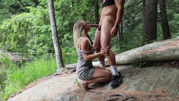Amateur Blonde gets Banged in the Woods