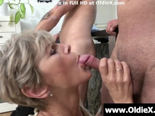 Grannies attack young cock