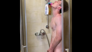 Skinny Sexy boy take Warm shower with Real Pleasure