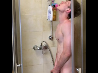 Skinny sexy boy take warm shower with real...