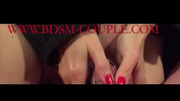Miss M. CRUSHES her slave´s BALLS while he is CAGED!