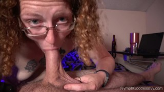 Redhead MILF Ivy sensually sucks cock for a pulsating cum in mouth