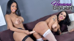 Havana Ginger fucks her shemale friend Foxxy with a strapon