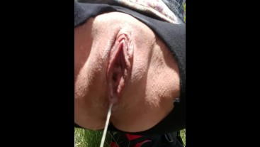 Little W. Pussy Takes a Public Piss and Drips a Load of Cum!