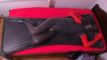 Vacbed Self Bondage Traing - 34 Seconds with blow up penis gag