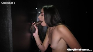 Sexy slender Avi Love milks 10 cocks and eats cum