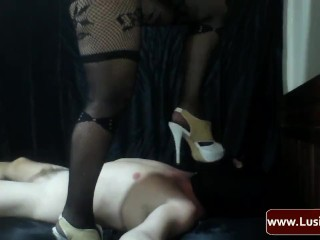Cock Ring With Anal Ball Femdom Mistress Lusinda. Underfoot And Spanking. Video 18 Part 1
