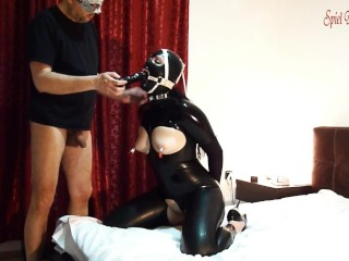 INTRO-Black latex slut with ring gag deepthroated cock, dildo & fucked hard