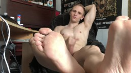 Sniff and lick my feets while I masturbate my huge cock - Chris Wild
