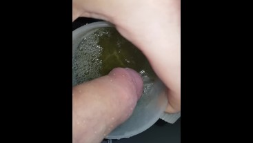 Teen Pissing in Cup