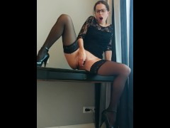 Webcam secretary in glasses squirt on the table, Snapchat - CatherineRain