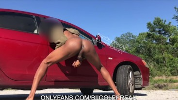 Big Dick Teen strokes dick and shows ass in car and outside. w/ big cumshot