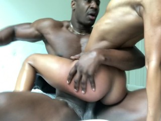 Teen ebony beauty fucks step brother