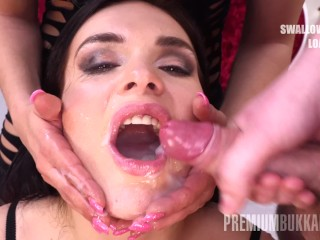Full Hd Movie Clip Premium Bukkake - Hannah Vivienne Swallows 87 Big Mouthful Cumshots, Brunette Blo