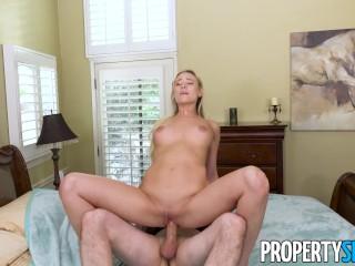 PropertySex - Hot blonde MILF landlady fucks her tenant