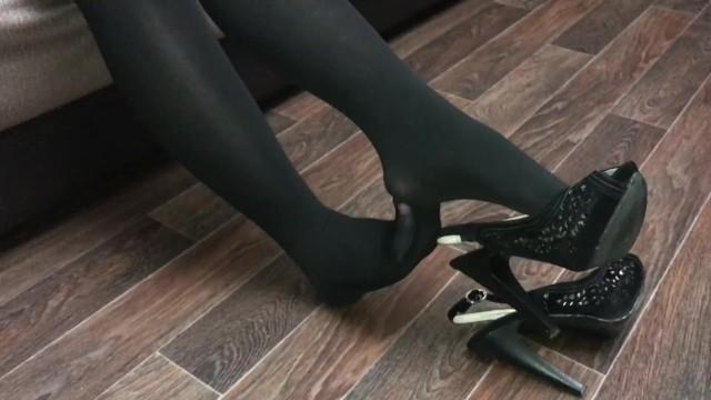 Black sexy princess Sexy girl in black pantyhose show feet