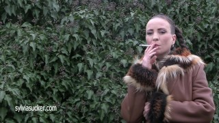 Gorgeous Sylvia Chrystall Fur Leather Smoking Art 100's Marlboro Cigarette
