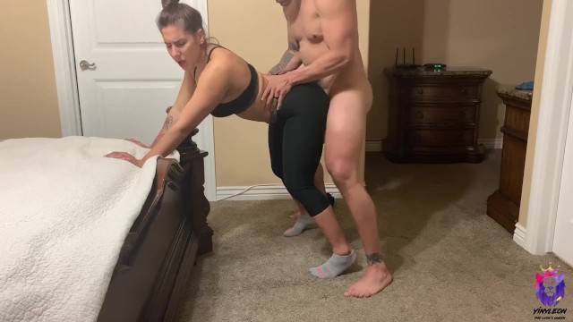 Elevator lesbian Yoga instructor gets fucked by one of her students