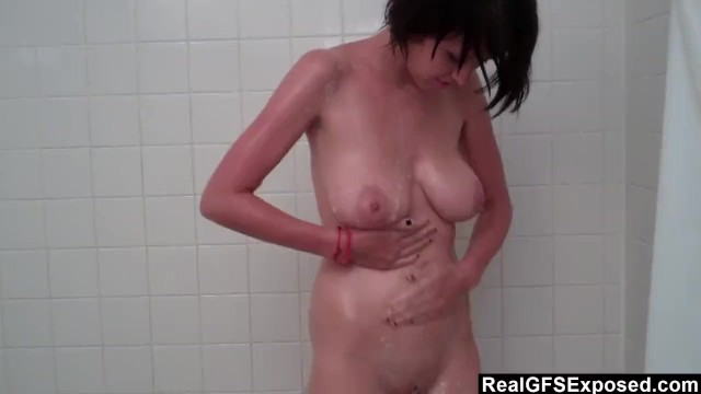 Watching A Big Breasted GF Showering