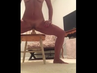 MILF fucks toy while describing being fucked by friend