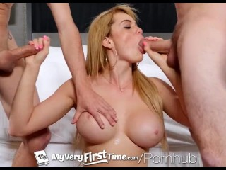 MYVERYFIRSTTIME First Threesome With Busty Skyla Novea!Double Facial