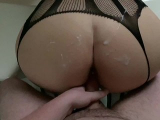 He Cums 3 Times on Her Big Ass! Cum Covered Fucking, Keeps Cumming! Clips