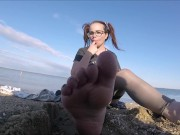 Tiny feets worship , pussy control & Pissing on beach