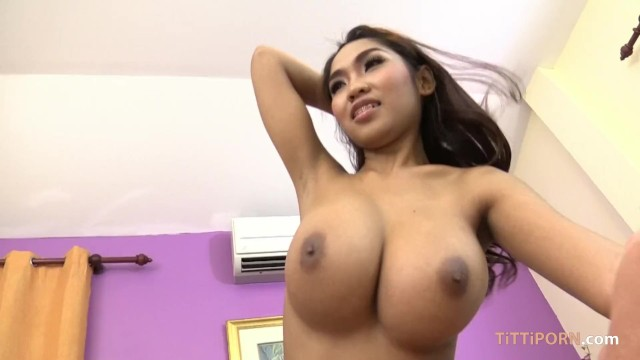 Big giant natural boobs on skinny Thai girl