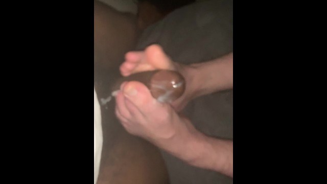 Soft core gay porn video - My soft white feet milking the cum from black cock