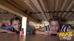 Fake Hostel Two hot girls get stuck under a bunk bed