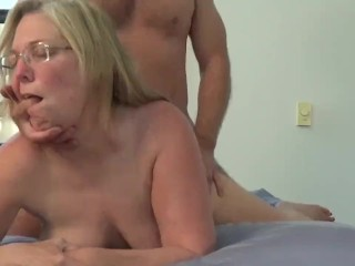 Cheating wife takes hard afternoon fuck. Cum on her butt plug