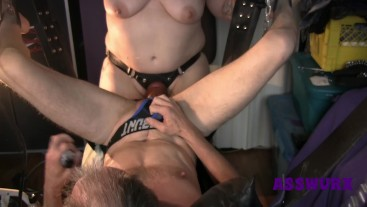 POV Of Tattooed Milf Fisting Him And Pegging His Ass With Huge Strapon