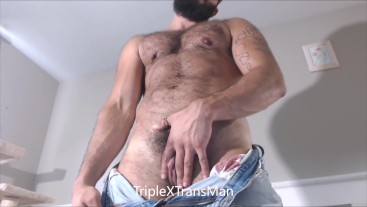 Hairy Muscular FTM TransMan Shows Off Big Clit Cock and Pussy